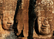 Angkor Thom Prints - Bayon Faces 01 Print by Rick Piper Photography