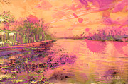 Flyers Mixed Media Prints - Bayou at Sunset Print by Arco Montufar