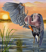 Waterfowl Paintings - Bayou Blues by Phyllis Beiser