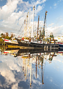 Reflections Of Sky In Water Prints - Bayou La Batre AL Shrimp Boat Reflections 36 Print by Jay Blackburn