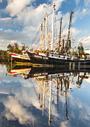 Reflections Of Sky In Water Prints - Bayou La Batre AL Shrimp Boat Reflections 37 Print by Jay Blackburn
