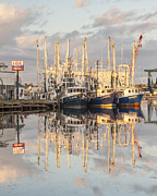 Reflections Of Sky In Water Prints - Bayou La Batre AL Shrimp Boat Reflections 38 Print by Jay Blackburn