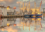Reflections Of Sky In Water Prints - Bayou La Batre AL Shrimp Boat Reflections 39 Print by Jay Blackburn