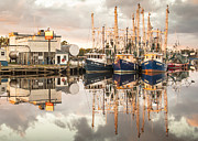 Reflections Of Sky In Water Prints - Bayou La Batre AL Shrimp Boat Reflections 40 Print by Jay Blackburn