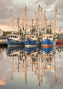 Reflections Of Sky In Water Prints - Bayou La Batre AL Shrimp Boat Reflections 41 Print by Jay Blackburn