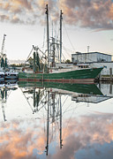 Reflections Of Sky In Water Prints - Bayou La Batre AL Shrimp Boat Reflections 42 Print by Jay Blackburn