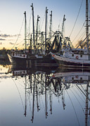 Reflections Of Sky In Water Prints - Bayou La Batre AL Shrimp Boat Reflections 43 Print by Jay Blackburn