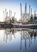 Reflections Of Sky In Water Prints - Bayou La Batre AL Shrimp Boat Reflections 44 Print by Jay Blackburn