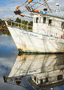 Reflections Of Sky In Water Prints - Bayou LaBatre AL Shrimp Boat Reflection Print by Jay Blackburn