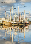 Reflections Of Sky In Water Prints - Bayou LaBatre AL Shrimp Boat Reflections 18 Print by Jay Blackburn