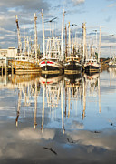 Reflections Of Sky In Water Prints - Bayou LaBatre AL Shrimp Boat Reflections 19 Print by Jay Blackburn
