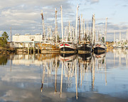 Reflections Of Sky In Water Prints - Bayou LaBatre AL Shrimp Boat Reflections 20 Print by Jay Blackburn