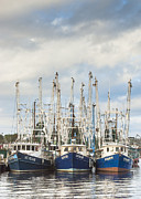 Reflections Of Sky In Water Prints - Bayou LaBatre AL Shrimp Boat Trio In Harbor Print by Jay Blackburn