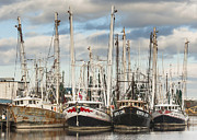 Reflections Of Sky In Water Prints - Bayou LaBatre AL Shrimp Boats Print by Jay Blackburn