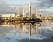 Reflections Of Sky In Water Prints - Bayou LaBatre Shrimp Boat Reflections 22 Print by Jay Blackburn