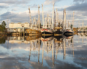 Reflections Of Sky In Water Prints - Bayou LaBatre Shrimp Boat Reflections 23 Print by Jay Blackburn