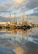Reflections Of Sky In Water Prints - Bayou LaBatre Shrimp Boat Reflections 24 Print by Jay Blackburn