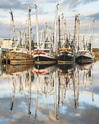 Reflections Of Sky In Water Prints - Bayou LaBatre Shrimp Boat Reflections 25 Print by Jay Blackburn
