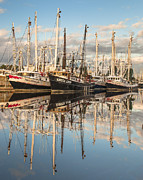 Reflections Of Sky In Water Prints - Bayou LaBatre Shrimp Boat Reflections 26 Print by Jay Blackburn