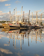 Reflections Of Sky In Water Prints - Bayou LaBatre Shrimp Boat Reflections 27 Print by Jay Blackburn