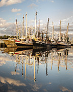 Reflections Of Sky In Water Prints - Bayou LaBatre Shrimp Boat Reflections 28 Print by Jay Blackburn