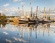 Reflections Of Sky In Water Prints - Bayou LaBatre Shrimp Boat Reflections 29 Print by Jay Blackburn