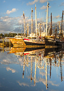 Reflections Of Sky In Water Prints - Bayou LaBatre Shrimp Boat Reflections 31 Print by Jay Blackburn