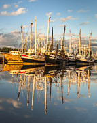 Reflections Of Sky In Water Prints - Bayou LaBatre Shrimp Boat Reflections 32 Print by Jay Blackburn