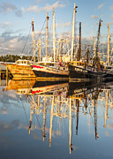 Reflections Of Sky In Water Prints - Bayou LaBatre Shrimp Boat Reflections 33 Print by Jay Blackburn