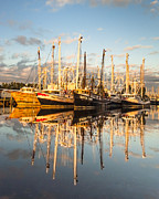 Reflections Of Sky In Water Prints - Bayou LaBatre Shrimp Boat Reflections 34 Print by Jay Blackburn