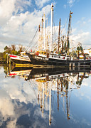 Reflections Of Sky In Water Posters - Bayou LaBatre Shrimp Boat Reflections 35 Poster by Jay Blackburn