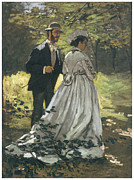 Man And Woman Framed Prints - Bazille and Camille Framed Print by Claude Monet