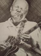 Gibson Guitar Drawings Posters - B.B. King the Blues Master Poster by Chris Shepherd