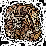 Dunk Mixed Media - BBall by Donna Johnson