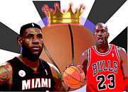 Lebron Posters - BBall Kings Poster by Michael Chatman