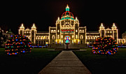 Nightlight Framed Prints - BC Parliament Christmas Lights Framed Print by James Wheeler