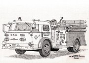 Baltimore Drawings Metal Prints - BCFD Engine 6 Pumper Metal Print by Calvert Koerber