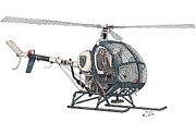Helicopter Drawings - BCPD Helicopter by Calvert Koerber