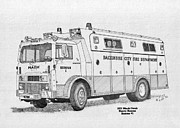 Baltimore Drawings Metal Prints - BCPD Rescue 1 Metal Print by Calvert Koerber