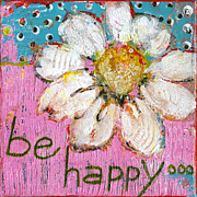 Pink Art Prints - Be Happy Daisy Flower Painting Print by Blenda Studio