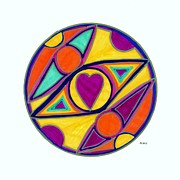 Chakra Drawings - Be in the Center of Love by Kaia Lyngroth