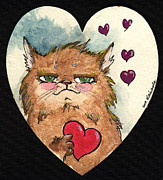 Cats Framed Prints - Be My Sweetheart Framed Print by Angel  Tarantella