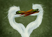 Egret Paintings - Be My Valentine by Adele Moscaritolo