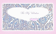 Engagement Digital Art Prints - Be My Valentine Hearts and Paisley Print by Danielle  Parent