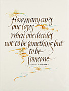 Calligraphy Mixed Media Prints - Be Somebody Print by Jo Forsyth