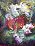 Glass Paintings - Be Still - Casablanca Lilies with Copper by Talya Johnson