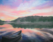 Canoe Pastels Metal Prints - Be Still  Metal Print by Cathy Weaver