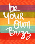 Stripes Mixed Media Posters - Be Your Own Buzz Poster by Linda Woods