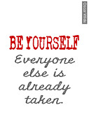 Wilde Prints - Be Yourself Oscar Wilde Quote Print by Nik Helbig