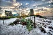Beach Fence Digital Art Posters - Beach and Buildings Poster by Michael Thomas